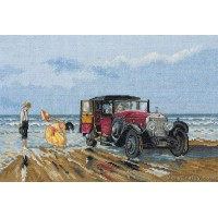 Vintage Rolls Royce On The Beach Counted Cross Stitch Kit by Anchor