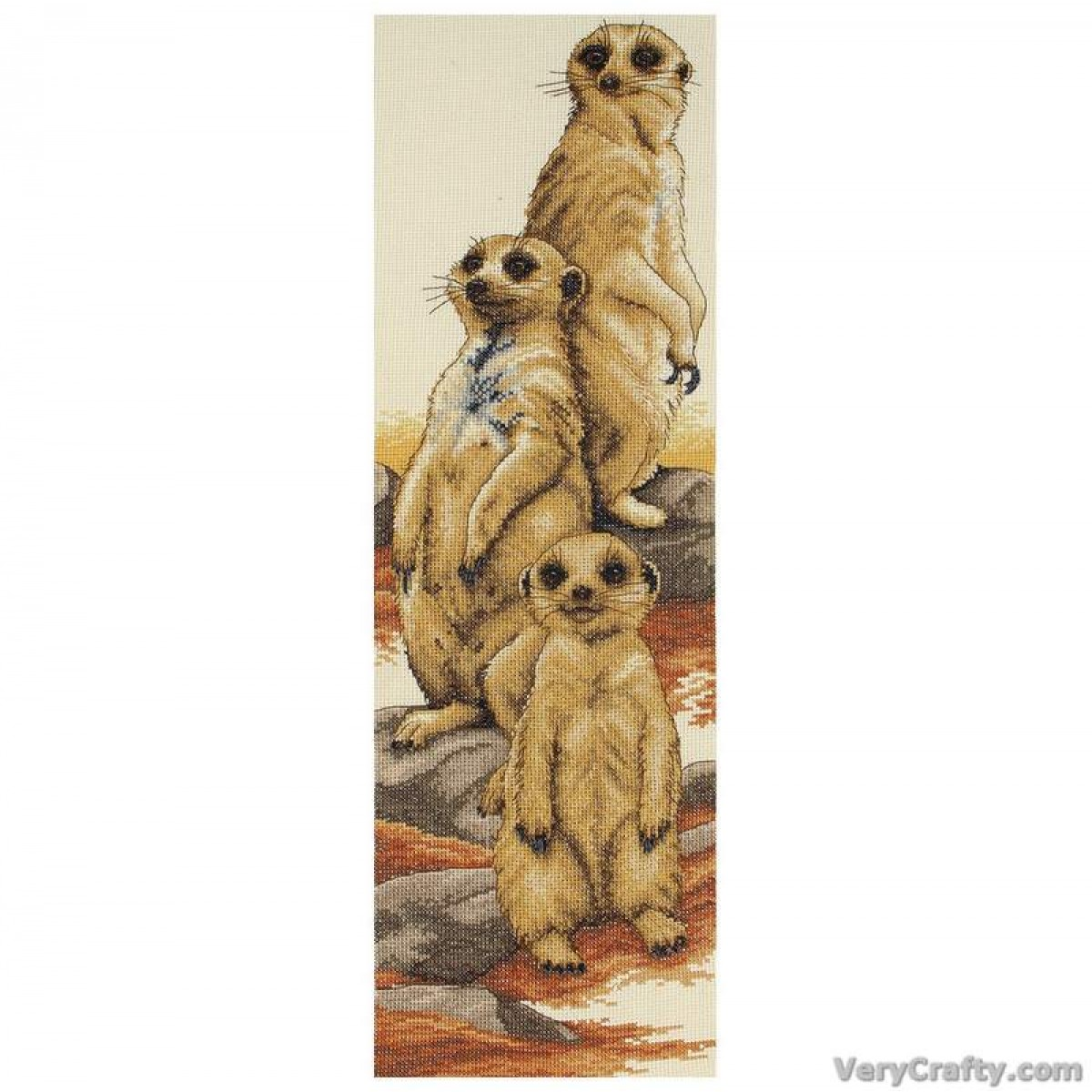 Meerkats Counted Cross Stitch Kit by Heritage Crafts 14 Count Cream Aida