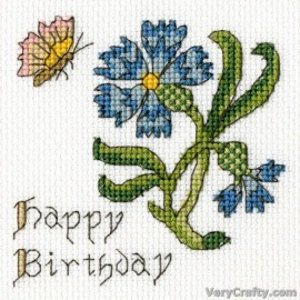 Cornflower Card - Counted Cross Stitch Greetings Card Kit From Bothy Threads
