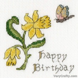 Daffodil Card - Counted Cross Stitch Greetings Card Kit From Bothy Threads
