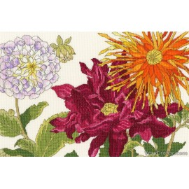 Dahlia Blooms Counted Cross Stitch Kit from Bothy Threads