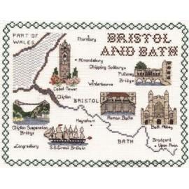 Bristol & Bath Map Cross Stitch Kit from Classic Embroidery