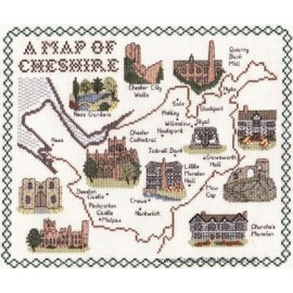 Cheshire Map Cross Stitch Kit  from Classic Embroidery