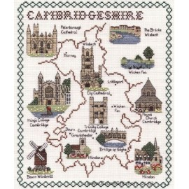Cambridgeshire Map Cross Stitch Kit from Classic Embroidery