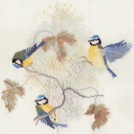 Birds - Blue Tits And Seed Heads Cross Stitch Kit by Derwentwater Designs