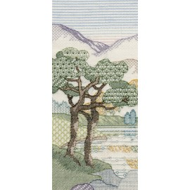 Creative Backstitch - Heather Hills: Mountain Pines Blackwork Kit by Derwentwater Designs