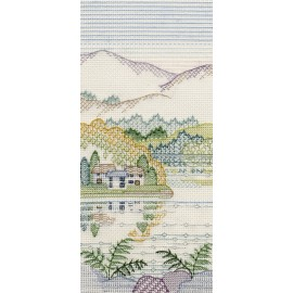 Creative Backstitch - Heather Hills: Bracken Cottages Blackwork Kit by Derwentwater Designs
