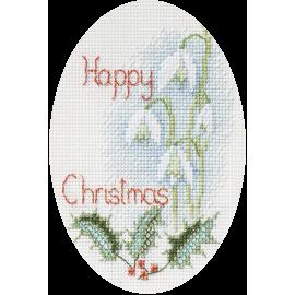 Snowy Christmas Scene Orchidea Printed Cross Stitch Card Kit