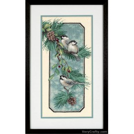 Chickadees on a Branch Printed Cross Stitch Kit by Dimensions