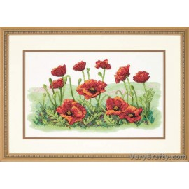 Field of Poppies Printed Cross Stitch Kit by Dimensions