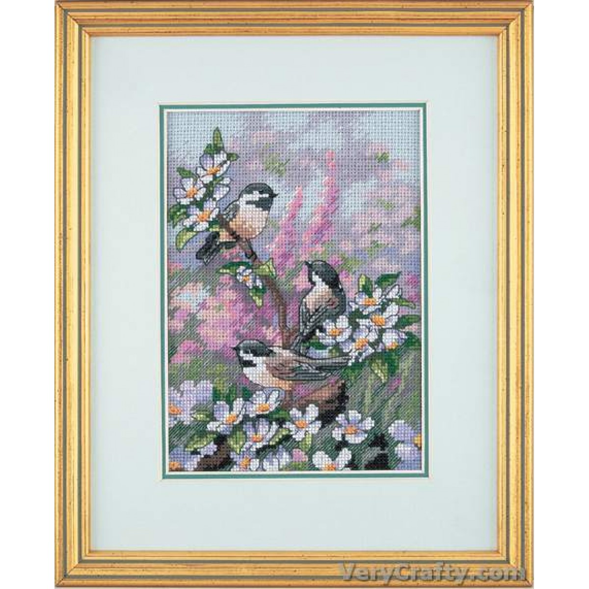Dimensions Chickadees In Spring Gold Petite Counted Cross Stitch Kit