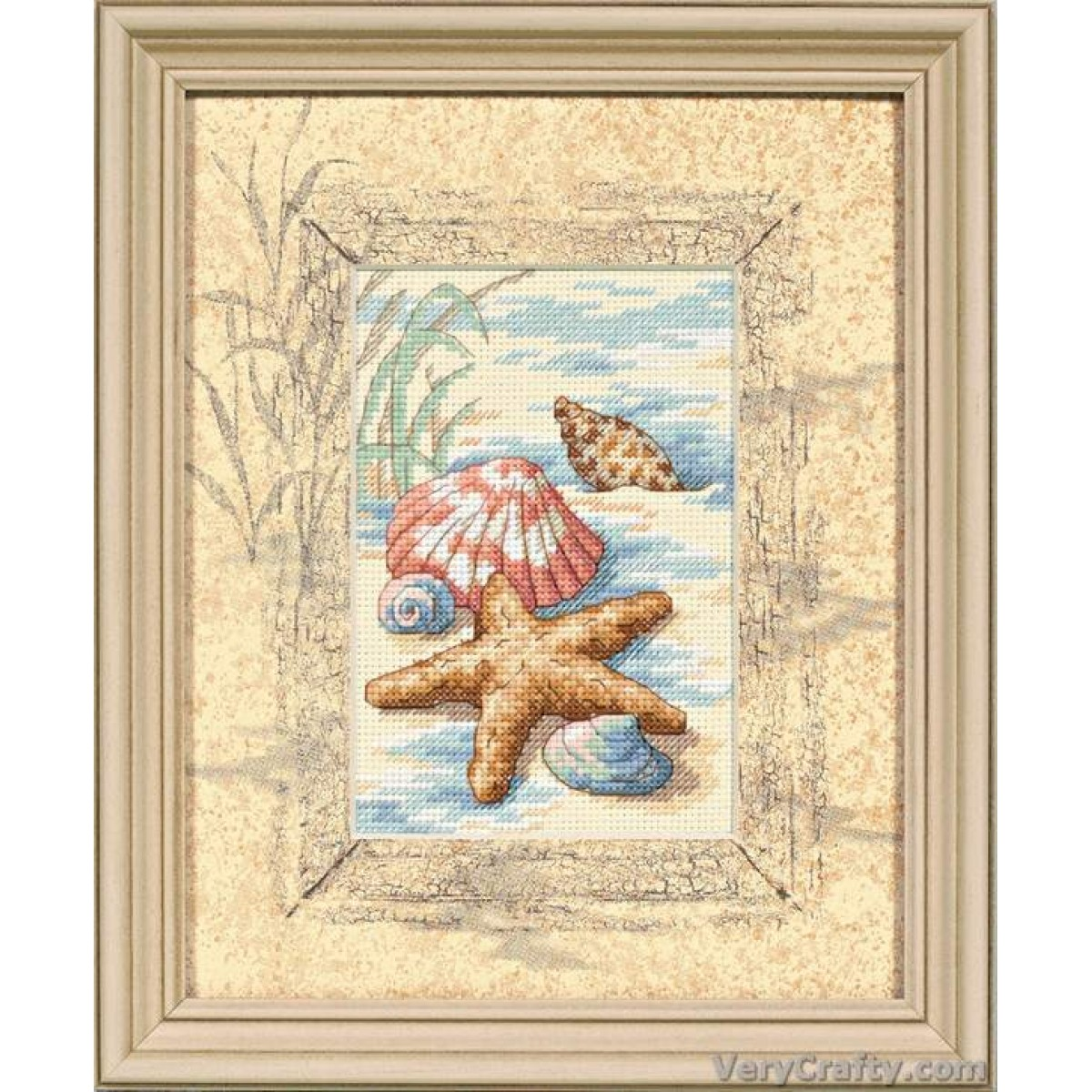 D06956 Counted Cross Stitch Kit Matted Accent Dimensions Shells in Sand