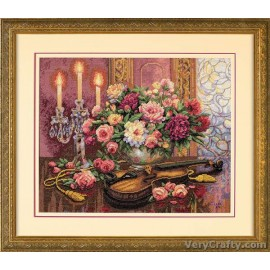 Gold: Romantic Floral Counted Cross Stitch Kit by Dimensions