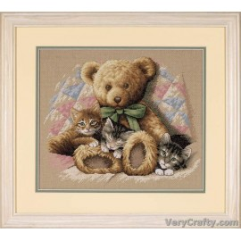 Teddy and Kittens Counted Cross Stitch Kit by Dimensions