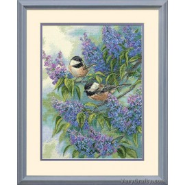 Gold: Chickadees and Lilacs Counted Cross Stitch Kit by Dimensions