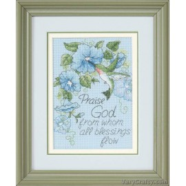 Hummingbird & Morning Glory Mini Counted Cross Stitch Kit by Dimensions