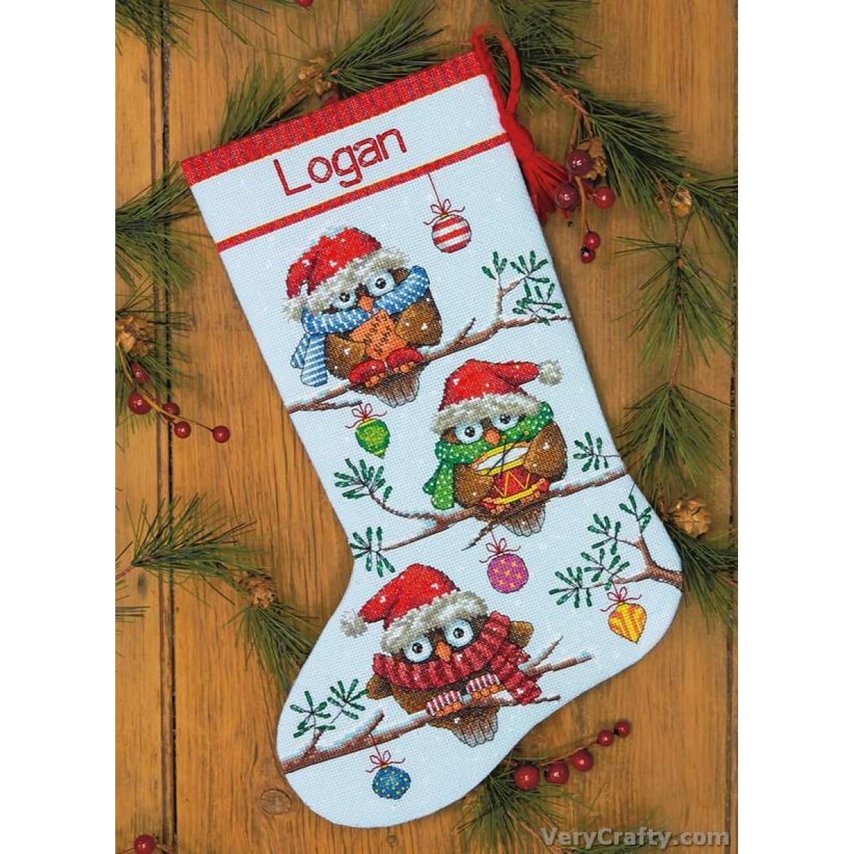 "14 Count Dimensions Counted Cross Stitch Kit 16/"" Long-Holiday Hooties Stocking"