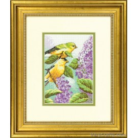 Goldfinch and Lilacs Mini Counted Cross Stitch Kit by Dimensions