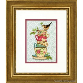 Gold: Stacked Tea Cups Counted Cross Stitch Kit by Dimensions