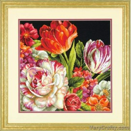 Bouquet On Black Tapestry Kit by Dimensions