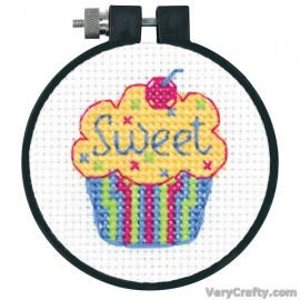 Learn-a-Craft: Cupcakes Counted Cross Stitch Kit with Hoop by Dimensions