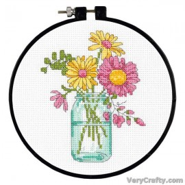 Learn-a-Craft: Summer Flowers Counted Cross Stitch Kit with Hoop by Dimensions
