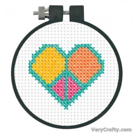 Learn-a-Craft: Peace and Love Counted Cross Stitch Kit with Hoop by Dimensions
