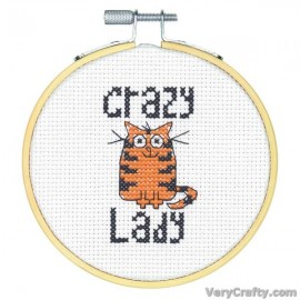 Crazy Cat Lady Counted Cross Stitch Kit with Hoop by Dimensions