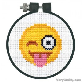 Tongue Out Emoji Counted Cross Stitch Kit with Hoop by Dimensions
