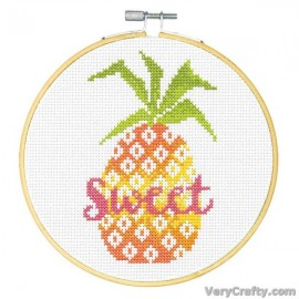 Sweet Pineapple Counted Cross Stitch Kit with Hoop by Dimensions