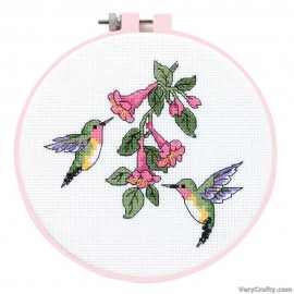 Learn-a-Craft: Hummingbird Duo Counted Cross Stitch Kit with Hoop by Dimensions