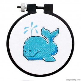Learn-a-Craft: The Whale Printed Cross Stitch Kit with Hoop by Dimensions