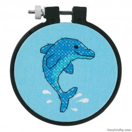 Learn-a-Craft: Dolphin Delight Printed Cross Stitch Kit with Hoop by Dimensions