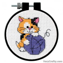 Learn-a-Craft: Cute Kitty Counted Cross Stitch Kit with Hoop by Dimensions