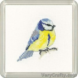 Blue Tit Coaster Counted Cross Stitch Kit from Heritage Crafts