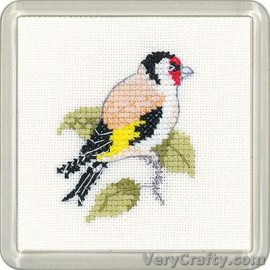 Goldfinch Coaster Counted Cross Stitch Kit from Heritage Crafts