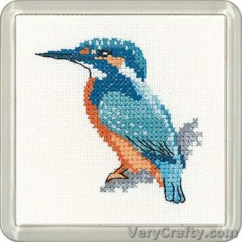 Kingfisher Coaster Counted Cross Stitch Kit from Heritage Crafts