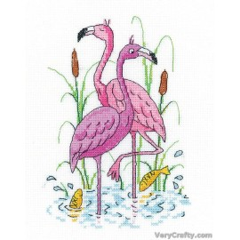 Flamingos Counted Cross Stitch Kit from Heritage Crafts