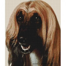 Afghan Hound (Gold with Black Mask) - Dog Cross Stitch Chart