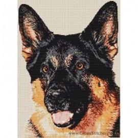 Alsation (German Shepherd)  - Dog Cross Stitch Chart