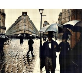 Caillebotte - Street in Paris A Rainy Day Cross Stitch Chart
