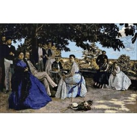 Bazille  - The Artists Family on a Terrace Cross Stitch Chart