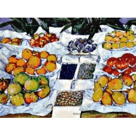 Caillebotte - Fruit Displayed on a Stand Cross Stitch Chart
