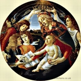 Botticelli  - Madonna and Child with Five Angels Cross Stitch Chart