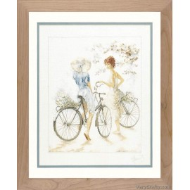 Girls on Bicycle (Linen) Counted Cross Stitch Kit by Vervaco / Lanarte
