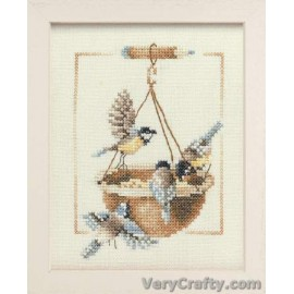 Feeding Dish with Birds Counted Cross Stitch Kit by Vervaco / Lanarte