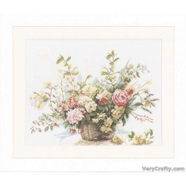 Basket of Roses (Linen) Counted Cross Stitch Kit by Vervaco / Lanarte