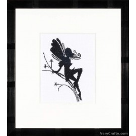 Cute Little Fairy on Twig Silhouette (Evenweave) Counted Cross Stitch Kit by Vervaco / Lanarte