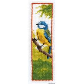 BOOKMARK BLUE TIT COUNTED CROSS STITCH KIT BY Vervaco / Lanarte