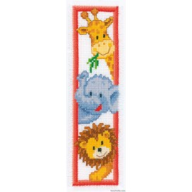 BOOKMARK ZOO ANIMALS COUNTED CROSS STITCH KIT BY Vervaco / Lanarte